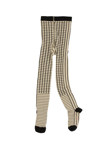 lines & grid tights-beige,black