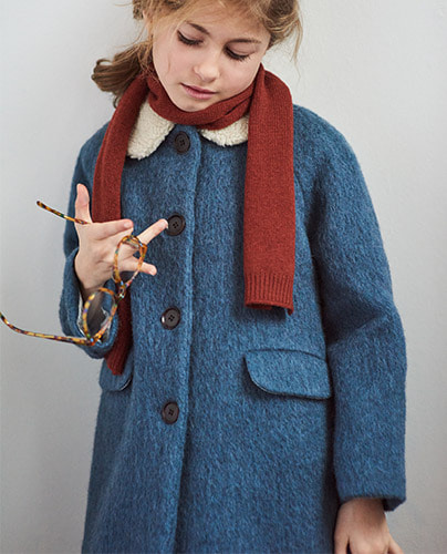 PHEROUSA COAT_GRAPHITE BLUE ( 4Y, 8Y )
