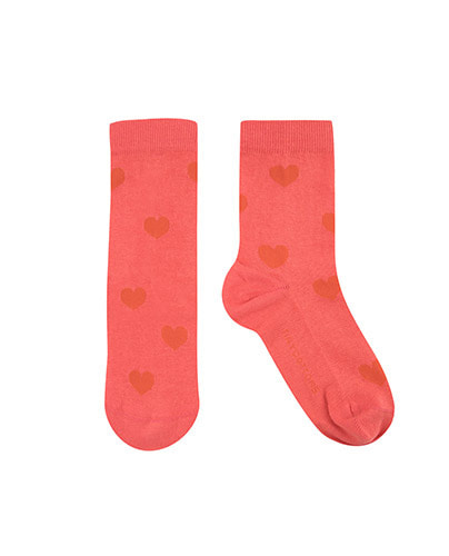 """HEARTS"" MEDIUM SOCKS_light red"